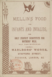 Advert for Mellin's Food for Infants & Invalids, reverse side